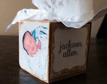Photo Block Ornament -- Baby's First Christmas boy