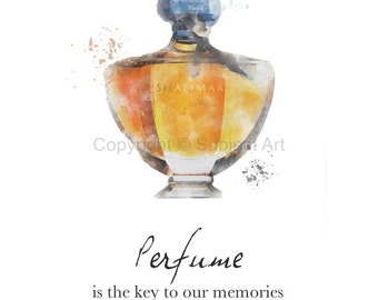 ART PRINT of Guerlain Shalimar Perfume, Fashion Quote 'Perfume is the key to our memories' Wall Art, Vintage, Fashion Gifts