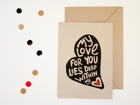 Valentine card - A5 greyboard - My love for you