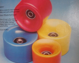 Vintage Astro By Astral Skateboard Wheels Skateboarder Magazine Photo Page January 1978 NOS