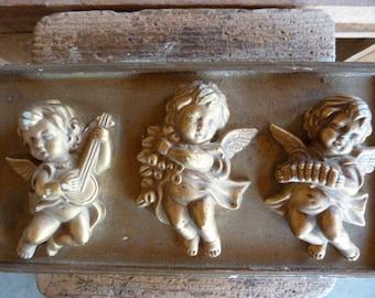 Vintage wood angel box / wood box / cherub / keepsake box / trinket box / trinket holder / storage box / vintage jewelry box / jewelry box