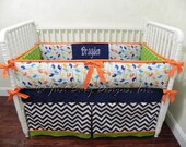 Custom Crib Bedding Set Travis - Helicopters with Navy Chevron, Orange, and Lime