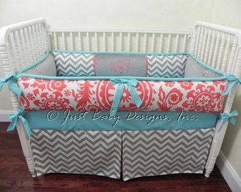 Girl Crib Bedding Set Roslyn - Coral, Gray, and Light Turquoise Blue Baby Bedding