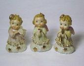 RARE Vintage Christmas Trio Porcelain Angel girl figurine Band Choir Horn Candle Harp Lefton Napco Japan ornament Decoration Star Cherub