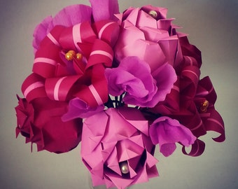 Paper Anniversary Gift Origami Bouquet. Roses Lily Stargazers Sweetpeas Fuschia Pink Alternative Paper Wedding Flowers