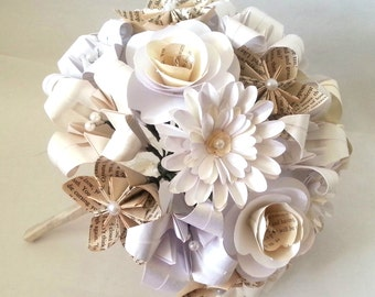 Paper Flowers Origami Bouquet Wedding Bridal Alternative Roses Gerbera Lily Kusudama Book Pages White Cream