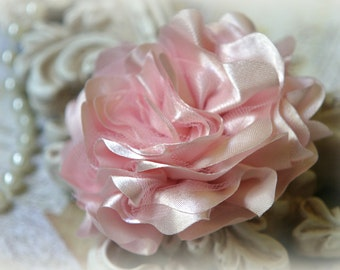 Light Pink Satin and Tulle Fabric Flowers, for Headbands, Clothing, Sashes, Altered Art, approx. 4 inches across, EM-013