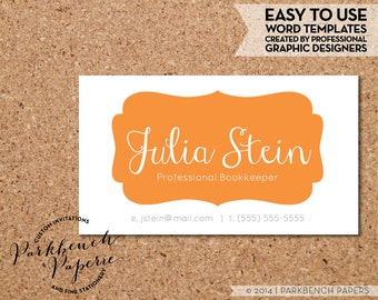 Business Card Template - Orange Frame -  DIY Editable Word Template, Instant Download, Printable