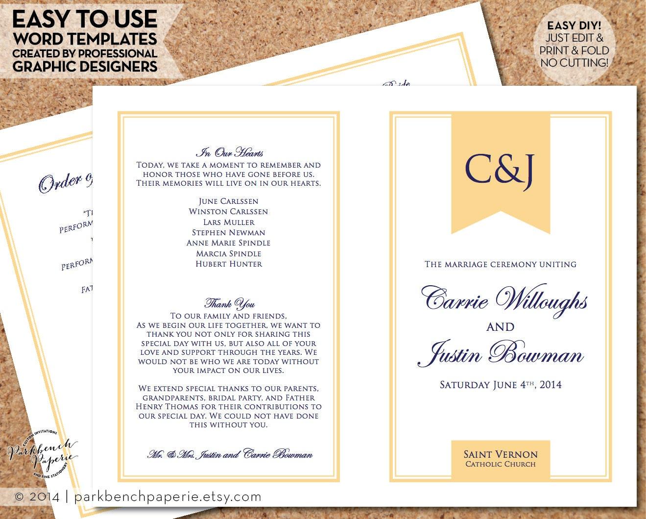 Diy Wedding Word Banners: Wedding Program Template Simple Banner Butter DIY