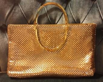 Vintage Y&S gold metal mesh clutch/handbag