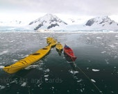 Antarctic Kayaks Photograph, Nautical Fine Art Wall Print, 4x6 or 5x7 - EchidnaArtandCards
