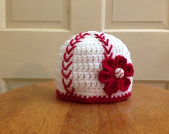 Crocheted Girls Baseball Hat newborn to toddler sizes
