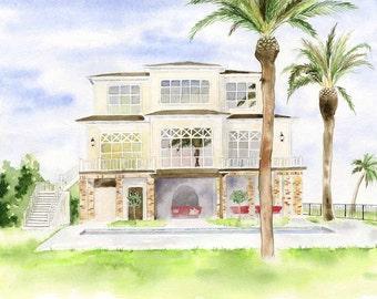 Custom House Painting - Home portrait - Original House painting - Housewarming gift - Watercolor House painting