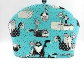 Tea Cozy Comic Cats Turquoise Black Item 201413 - TeaCozyCupboard
