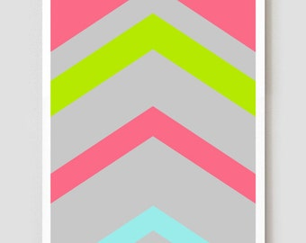 "Neon Stripes Vector Art Print / Poster 11"" x 17"""