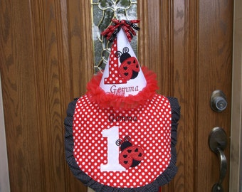 Girls First Birthday Hat  And Bib Set- Ladybug Theme  -  Free Personalization