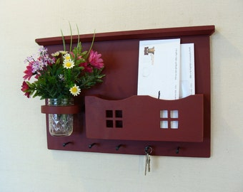 Mail Organizer  , Mail and Key Holder , Letter  Key Holder, Key hooks , Wall shelf