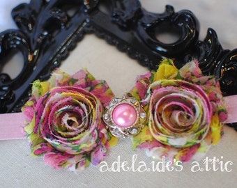 Pink Floral Rosette Headband for Baby, Toddler, Child, Adult