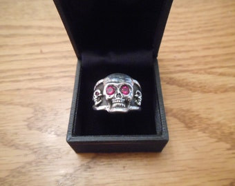 Sterling Silver Skull Ring with Lab Grown Rubies