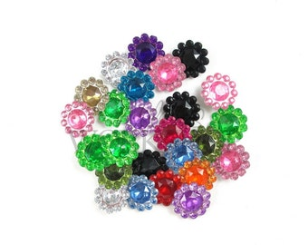 Grab Bag - Set of 25 Super Mini Acrylic Rhinestones - 11mm Buttons for Flower Centers