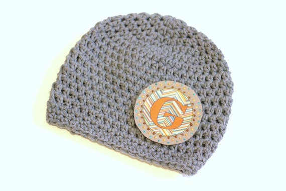 Crocheting Letters Into A Hat : Monogram Hat, Crochet Cotton Baby Boys, Boys Soft Gray Cotton Hat with ...