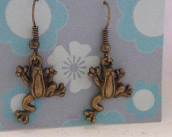 Brass jumping frog earrings, brass earrings, frog earrings