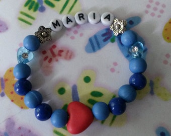 Super cute blue name bracelet, girls bracelet, name Maria