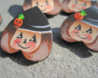 Hand-Painted Heart Witch Pins