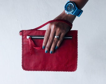 small wallet / clutch - Red leather