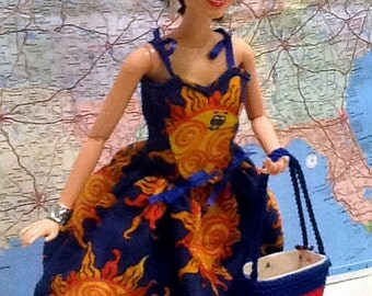 Navy Blue Sundress and Tote for One Sixth Fashion Dolls