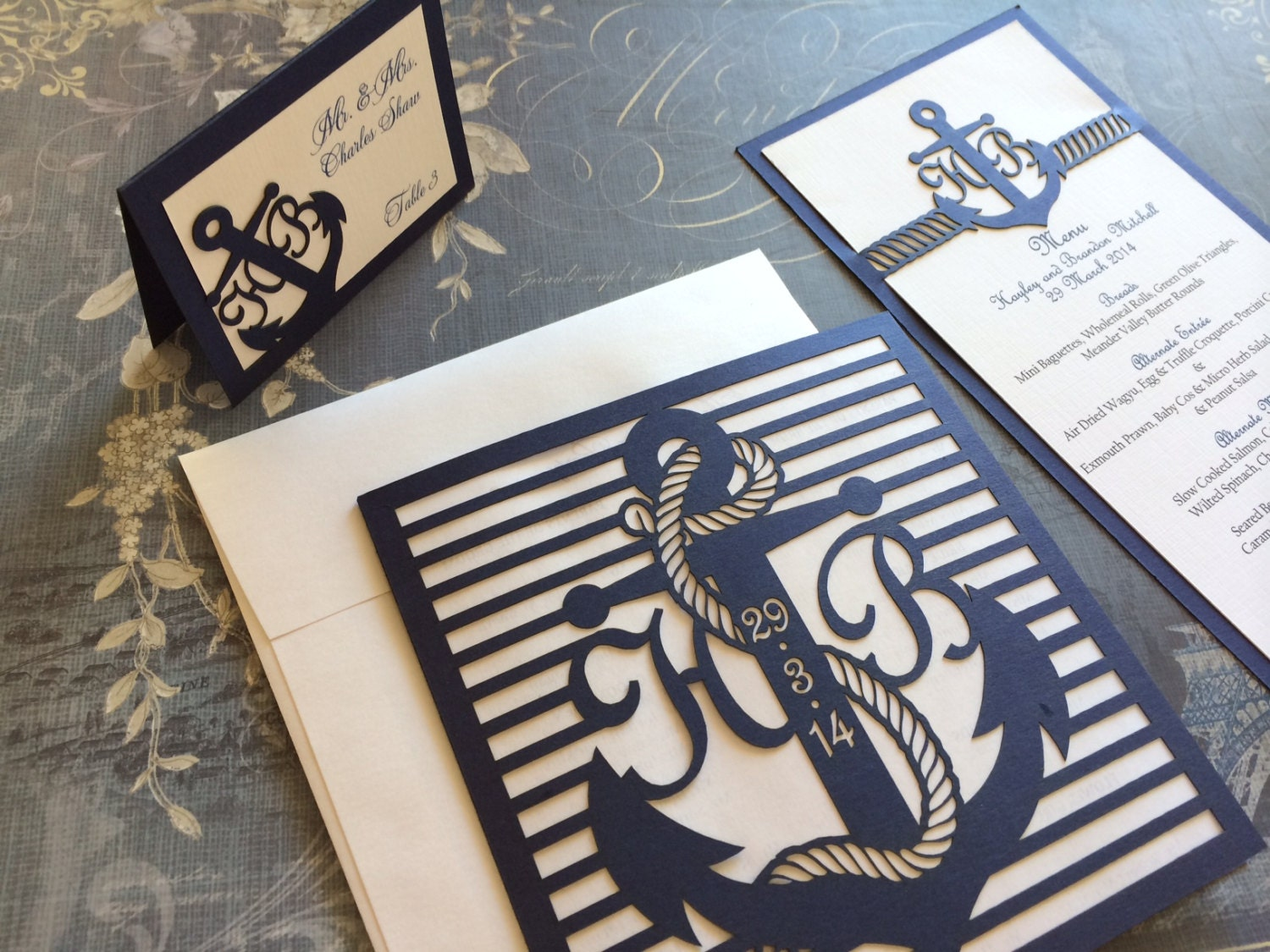 anchor wedding invitations laser cut wedding invitations nautical themed wedding 1298