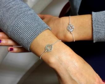 Dainty Monogram Bracelet - Sterling Silver, friendship bracelet, Christmas Gift