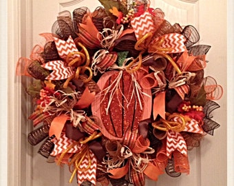 Pumpkin Deco Mesh Wreath/Fall Deco Mesh Wreath/Thanksgiving Deco Mesh Wreath/Pumpkin Wreath