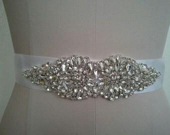 Wedding Belt, Bridal Belt, Sash Belt, Crystal Rhinestone  - Style B200081