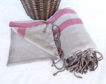 Organic Bamboo Towel Peshtemal, Turkish PESHTEMAL, Brown,Fuchsia Striped Peshtemal , Spa,Bath,Beach,Yoga,Pool,Fitness Towel