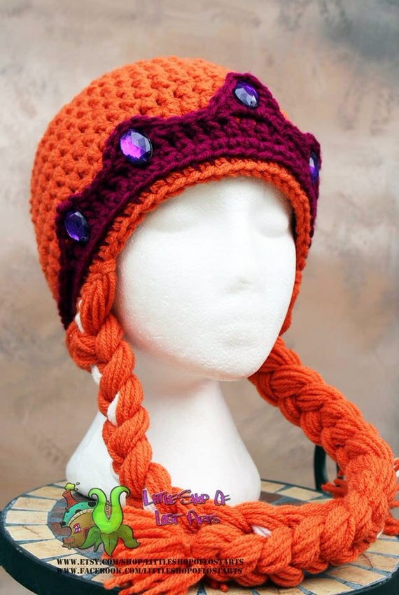 Anna from frozen inspired crochet princess crown hat