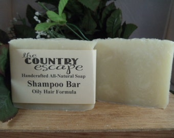 Oily Hair Formula Shampoo Bar - Handcrafted - Gentle & Moisturizing- Organic - Natural - Vegan -Naturally Scented - Paraben Free