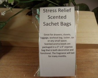 Stress Relief Scented Sachet Bag - A Calming Scent -Great for Drawers, Closets, Luggage, Workout Bags- Hostess and Shower Gifts