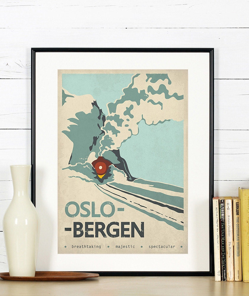 Retro Travel Poster Norway Oslo Bergen Train Railroad - Norway map poster