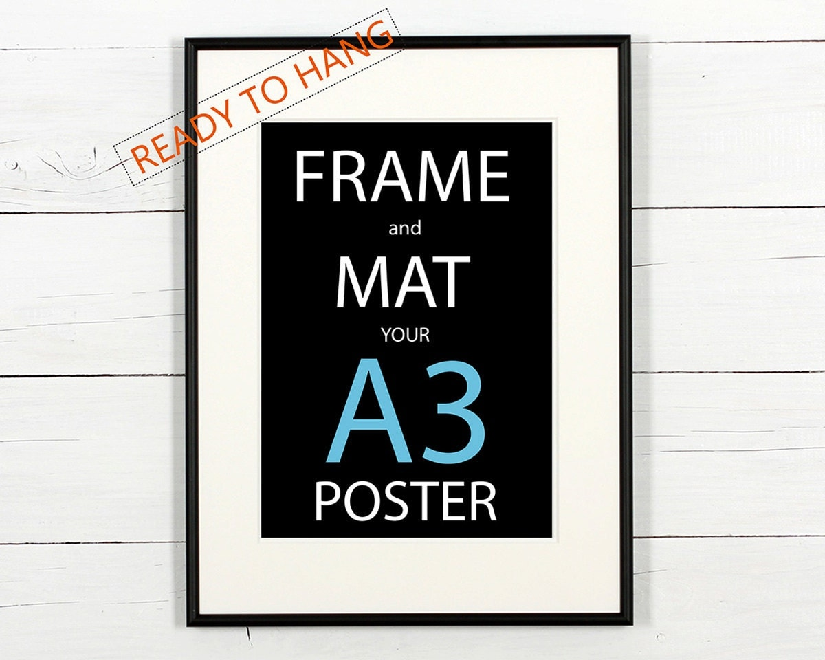 frame and mat your a3 poster black aluminum frame with white