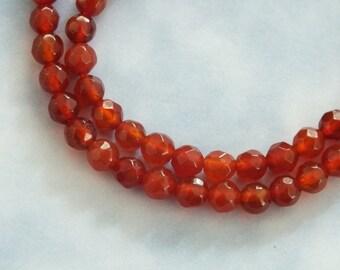 Carnelian Beads, 4mm Faceted Round Beads,  Natural Red Orange Gemstone, Carnelian Gemstone Bead, Single Stone