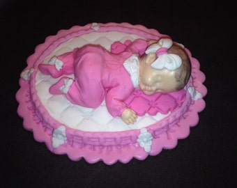Fondant baby girl cake topper for Baby Shower, Birthday, Party Favor