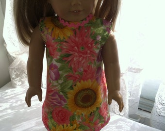 Summer flowers dress for 18 inch dolls