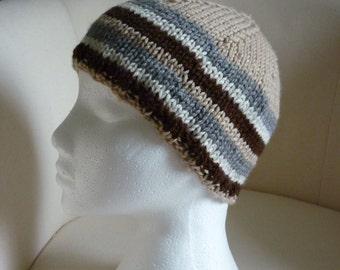 Hand-Knitted Mens Stripey Beanie Hat