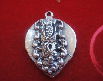 925 sterling silver oxidized heart with bird, silver heart