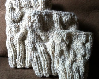 Cable Knit Boot Cuffs/ Boot Toppers in Oatmeal
