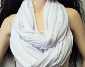 WHITE  Infinity Scarf SUPER Soft Jersey Knit