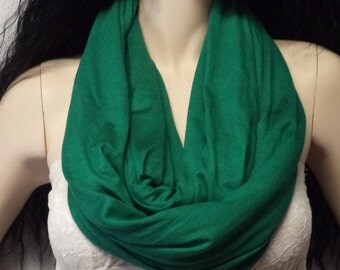 Emerald GREEN  Infinity Scarf SUPER Soft Jersey Knit