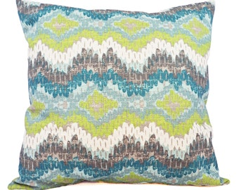 Two Blue and Green Ikat Pillow Covers - Blue Green Decorative Pillow - Blue Ikat Pillow - Green Ikat Pillow - Ikat Pillow Covers