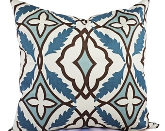 Two Decorative Pillow Covers Blue and Beige - Blue Grey Throw Pillow Cover - Blue and Beige Pillow - Couch Pillow - Accent Pillow